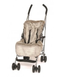 Reversible Luxury Taupe Faux Fur Buggy Liner