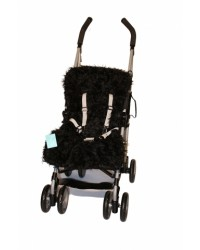 Reversible Shaggy Black Faux Fur Buggy Liner
