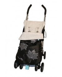Weatherproof Silver Grey Applique Leaves Buggy Muff