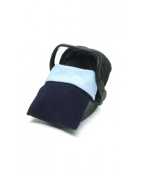Reversible Navy & Sky Blue Fleece Car Seat Blanket
