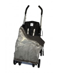 Reversible Luxury Charcoal Faux Fur Buggy Blanket