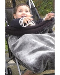 Reversible Luxury Black Frost Faux Fur Buggy Blanket