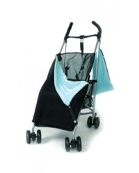 Reversible Black & Aqua Fleece Buggy Blanket