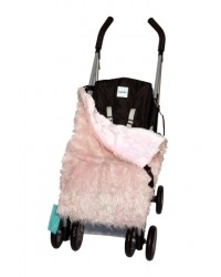 Reversible Shaggy Pink Faux Fur Buggy Blanket