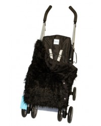Reversible Shaggy Black Faux Fur Buggy Blanket
