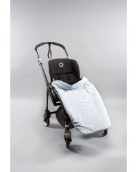 Reversible Sky Blue with Blue Mini Floral Print. Summer Cotton Buggy Blanket.