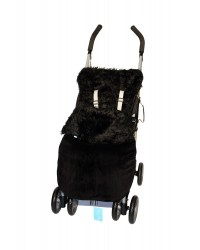 Weatherproof Shaggy Black Faux Fur Buggy Blanket