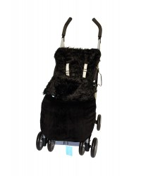 Reversible Shaggy Black Faux Fur Buggy Muff